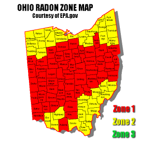Ohio radon zones per EPA